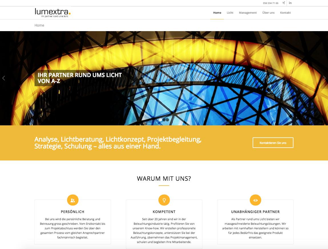 die neue Webseite von lumextra